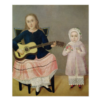 Young Girl with a Guitar and Child with a Poster