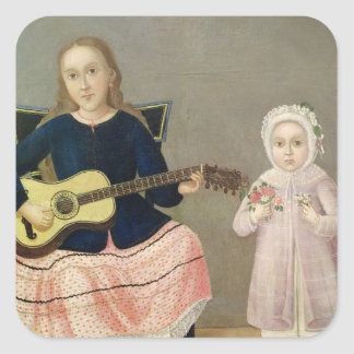 Young Girl with a Guitar and Child with a Square Sticker