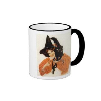 Young Girl with Black Kitty Vintage Halloween Mug