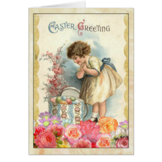 Young Girl with Easter Eggs Vintage Greeting Card