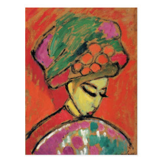 Young Girl with Flowered Hat Jawlensky Fine Art Postcard