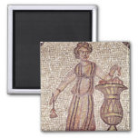 Young girl with flowers refrigerator magnets
