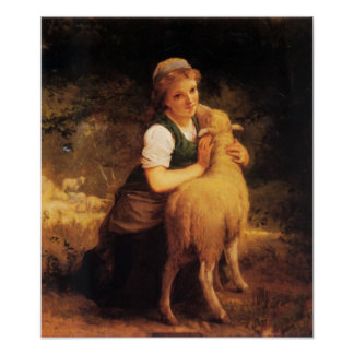Young Girl With Lamb Poster