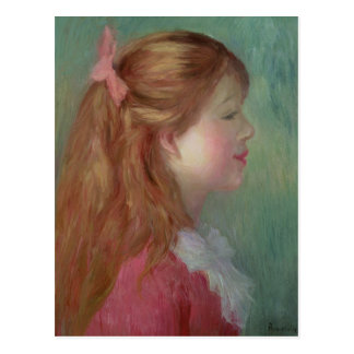 Young girl with Long hair in profile, 1890 Postcard