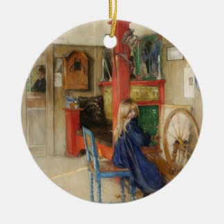 Young Girl with Spinning Wheel - Carl Larsson Ceramic Ornament