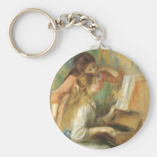 Young Girls at Piano by Pierre Renoir Basic Round Button Key Ring