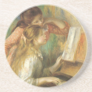 Young Girls at Piano by Pierre Renoir Sandstone Coaster