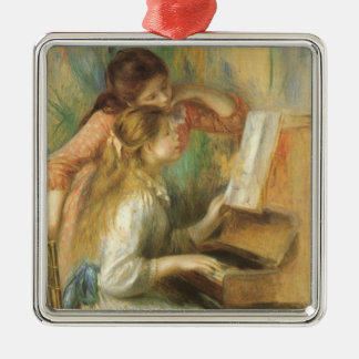 Young Girls at Piano by Pierre Renoir Silver-Colored Square Decoration