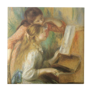 Young Girls at Piano by Pierre Renoir Small Square Tile