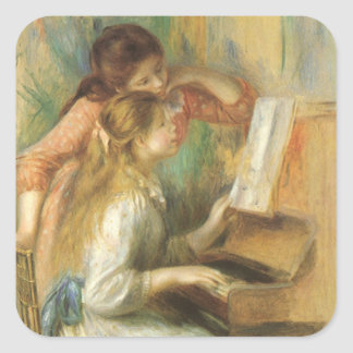 Young Girls at Piano by Pierre Renoir Square Sticker