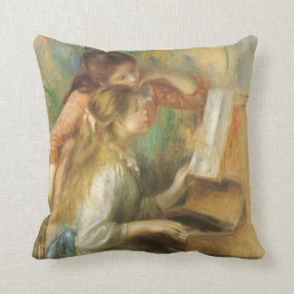 Young Girls at Piano by Pierre Renoir Throw Pillow
