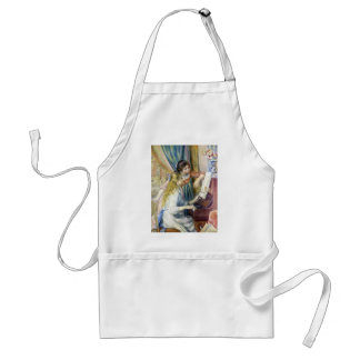 Young Girls at Piano by Renoir, Impressionism Art Adult Apron