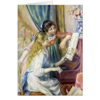 Young Girls at Piano by Renoir, Impressionism Art Greeting Card