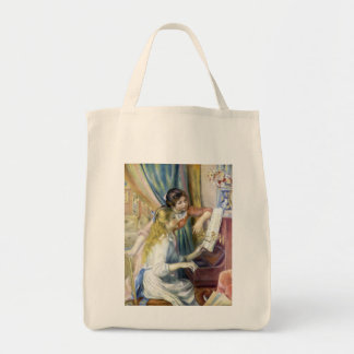 Young Girls at Piano by Renoir, Impressionism Art Grocery Tote Bag