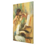 Young Girls at Piano by Renoir, Vintage Fine Art Stretched Canvas Print
