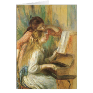 Young Girls at Piano by Renoir, Vintage Fine Art Greeting Card