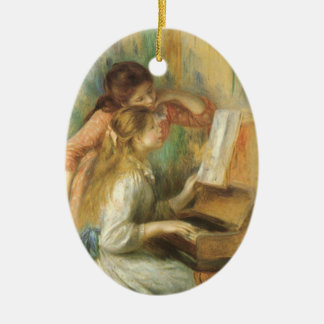 Young Girls at Piano by Renoir, Vintage Fine Art Ceramic Oval Decoration