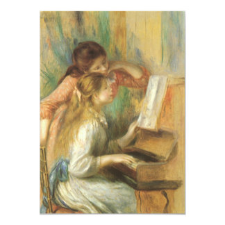 """Young Girls at Piano by Renoir, Vintage Fine Art 5"""" X 7"""" Invitation Card"""