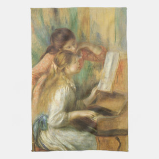 Young Girls at Piano by Renoir, Vintage Fine Art Hand Towels