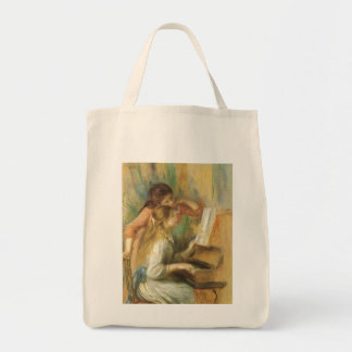 Young Girls at Piano by Renoir, Vintage Fine Art Grocery Tote Bag