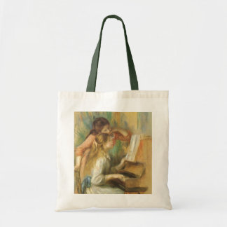 Young Girls at Piano by Renoir, Vintage Fine Art Budget Tote Bag