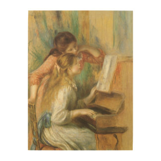 Young Girls at Piano by Renoir Vintage Fine Art Wood Canvases
