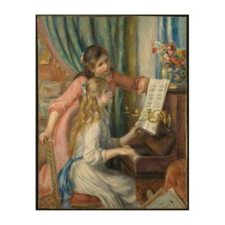 Young Girls at Piano - Pierre Renoir Wood Print