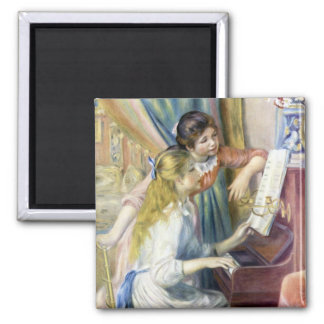Young Girls at the Piano by Pierre Renoir Square Magnet