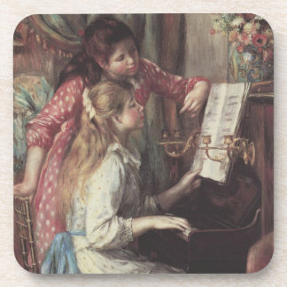 Young Girls at the Piano Renoir Impressionism Art Beverage Coasters