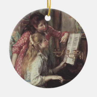Young Girls at the Piano, Renoir Impressionism Art Round Ceramic Decoration