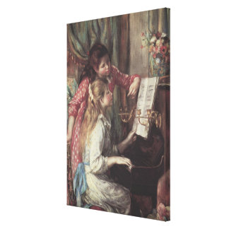 Young Girls at the Piano, Renoir Impressionism Art Gallery Wrapped Canvas