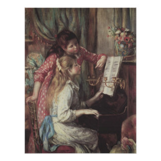 Young Girls at the Piano, Renoir Impressionism Art Poster