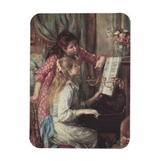 Young Girls at the Piano Renoir Impressionism Art Rectangular Magnet