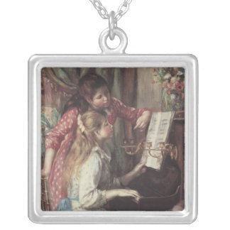 Young Girls at the Piano, Renoir Impressionism Art Square Pendant Necklace