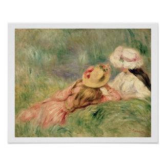 Young Girls on the River Bank oil on canvas Poster