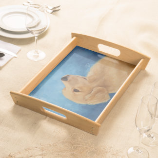 Young Golden Retriever Serving Tray