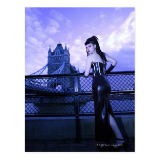 Young Goth woman at Tower Bridge, London Postcard