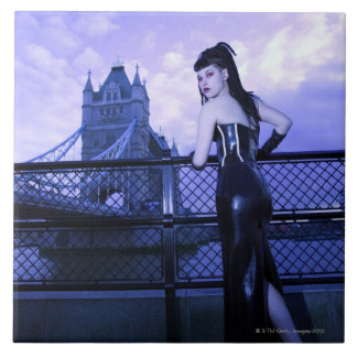 Young Goth woman at Tower Bridge, London Tile