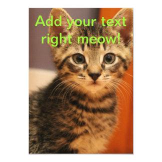 Young Grey Kitty Cat 13 Cm X 18 Cm Invitation Card