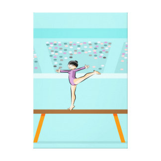 Young gymnastics standing up in the balance bar canvas print