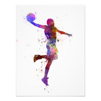 Young hand man basketball to player one slam dunk photo print
