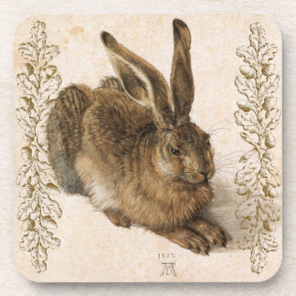 Young Hare by Albrecht Dürer with Leafy Accents Coaster