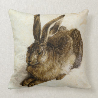 'Young Hare' Reversed by Albrecht Dürer Cushion