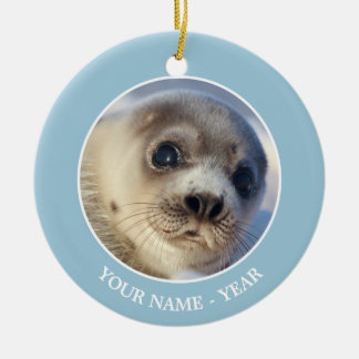 Young harp seal starting to shed its coat ceramic ornament