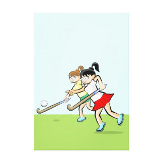 Young hockey indicating where the ball bounces canvas print