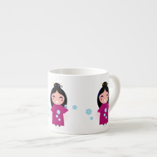 Young Japanese Woman in Kimono Expresso Mug