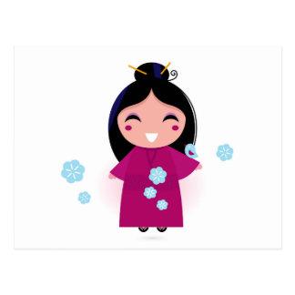 Young Japanese Woman in Kimono Postcard