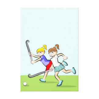 Young jockeys running to beat to him to the ball canvas print