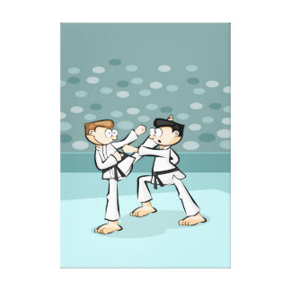 Young karate action in the heat of battle canvas print