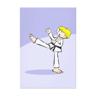 Young karate showing its technique canvas print